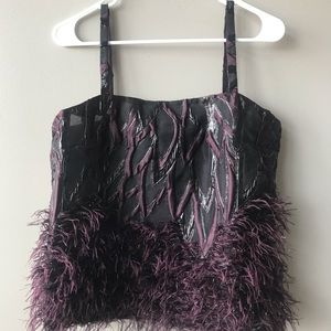 Anthropologie Feathered Plum Cami Top, Size 8. NWT